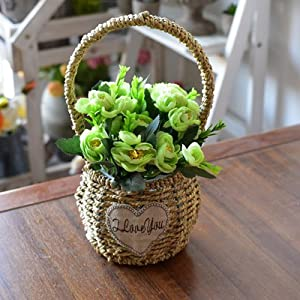 XHOPOS HOME Artificial Flowers European Style Weaving Flower Baskets Green Camellia Wedding Decorations Bridal Accessories Fake Flowers living room 38