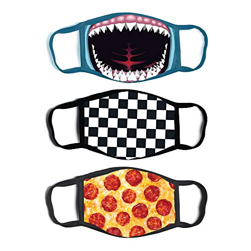 ABG Accessories Boys' 3-Pack Kid Fashionable Protection, Reusable Fabric Face Mask Age 3-7