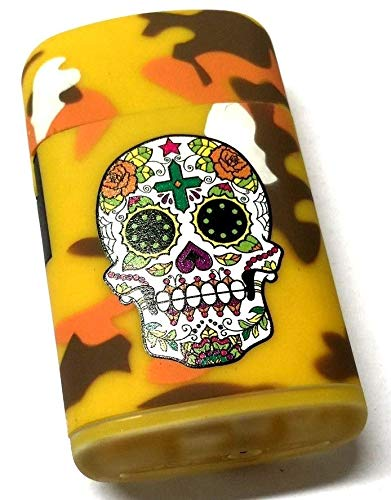 PROF Day Of The Dead Blue Jet Power Lighter Skull Design Gas Refillable High Capacity Electronic New Blue