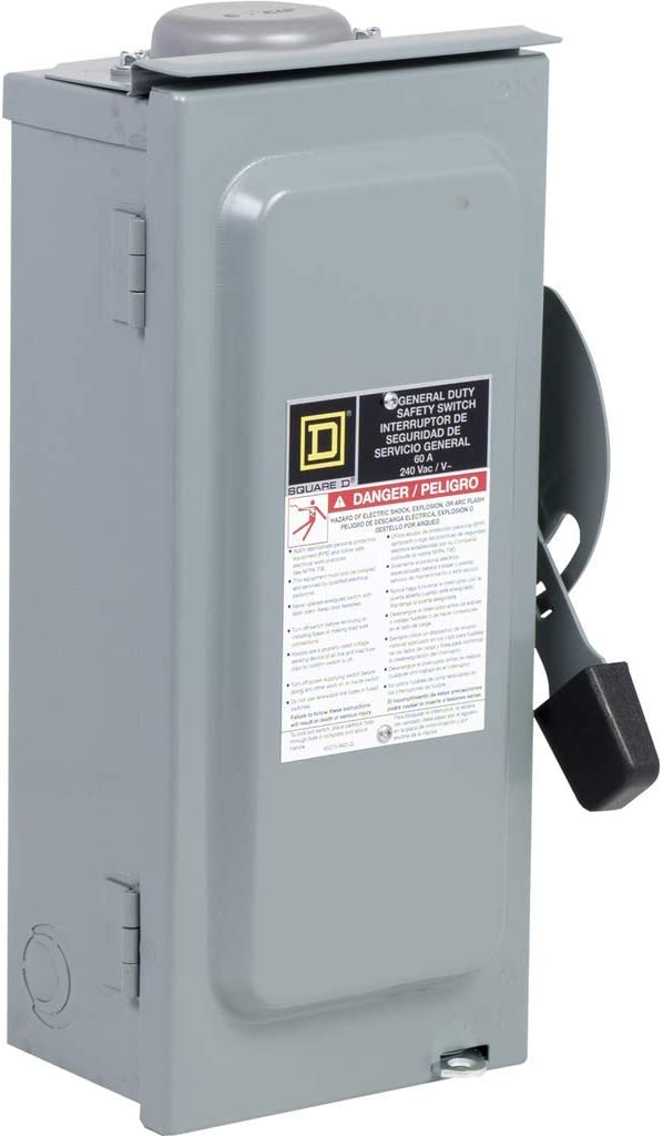 Square D by Schneider Electric D222NRBCP 60-Amp 240-Volt Two-Pole Outdoor General Duty Fusible Safety Switch with Neutral - Circuit Breaker Panel Safety Switches -