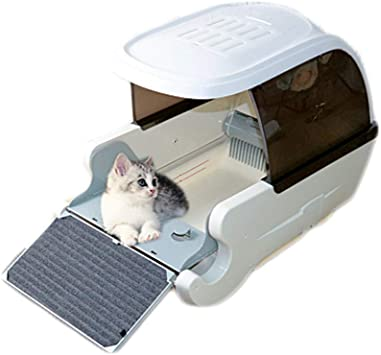 Amazon Com Qxd Automatic Smart Cat Toilet Fully Enclosed Automatic Litter Box Easy To Clean Electric Litter Box Deodorant Splash Cat Litter Environmental Protection White Furniture Decor