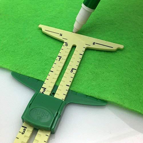 YEQIN 5-in-1 Sliding Gauge Measuring Sewing Tool for Sewing,Crafting, Marking Button Holes, Seam Allowance Gauge,Hem Gauge, Circle Compass, T Gauge