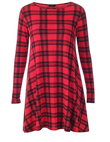 Momo&Ayat Fashions Ladies Tartan Print Jersey Flared Swing Dress UK Size 8-26 (Red, S/M (UK 8-10)) from Momo&Ayat Fashions