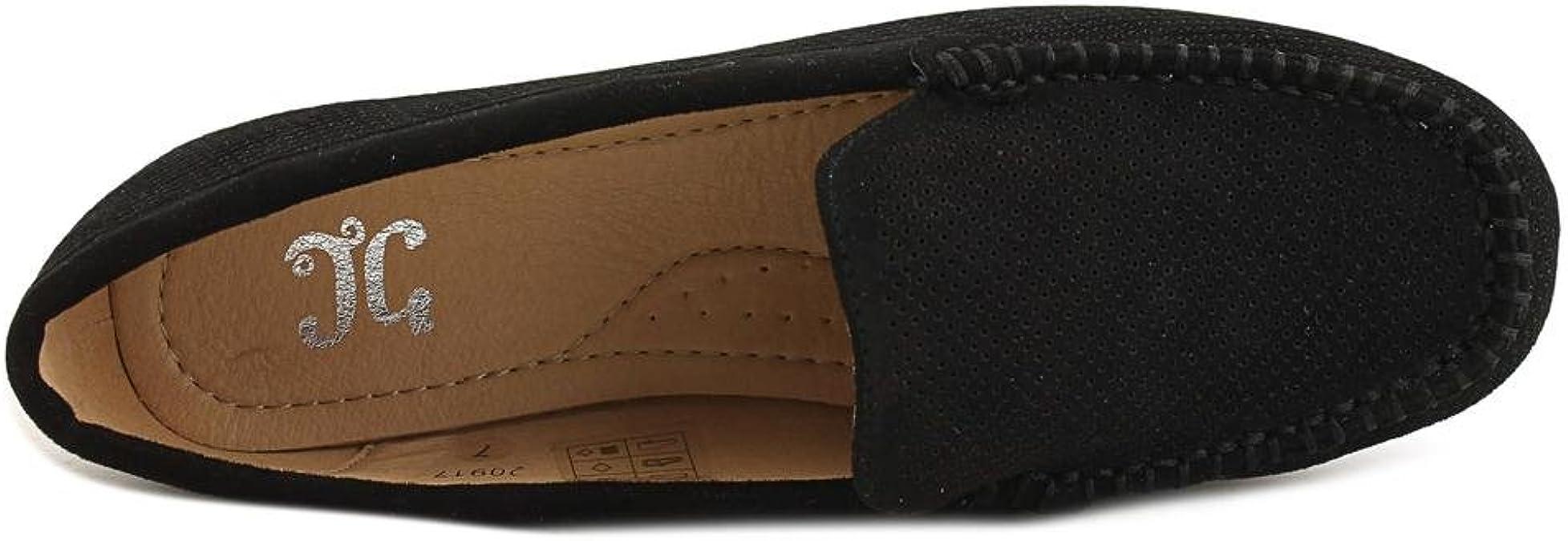 Brinley Co Womens Comfort Sole Faux Nubuck Laser Cut Loafers