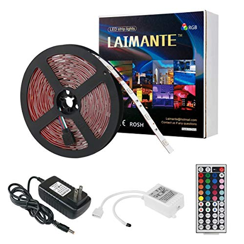 Laimante RGB Led Strip Lights Kit,150 Units 5050 LEDs,16.4ft/5m 12V DC Led Ribbon, Extra Adhesive 3M Tape,44 Key IR Remote Controller and UL Listed Power Adapter Included, Led Tape, Home Decoration (Light Unit Kit)