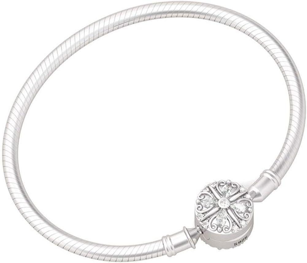 For Designer Inspired Charm Bracelets 925 Sterling Silver Green Enamel 4-LEAF CLOVER Sterling Silver Clip On Charm Pendant with Lobster Clasp for Women Girls