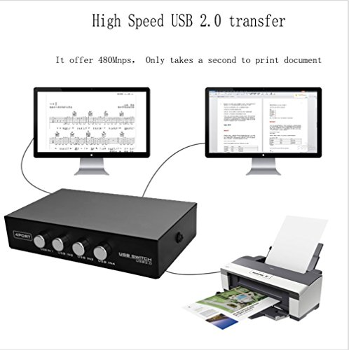 Pruthvik™ 4 Port USB 2.0 Manual Sharing Switch 1Port Printer Scanner Hub with 4 PCS Printer Scanner Cable Cord USB Type A Male to B Male