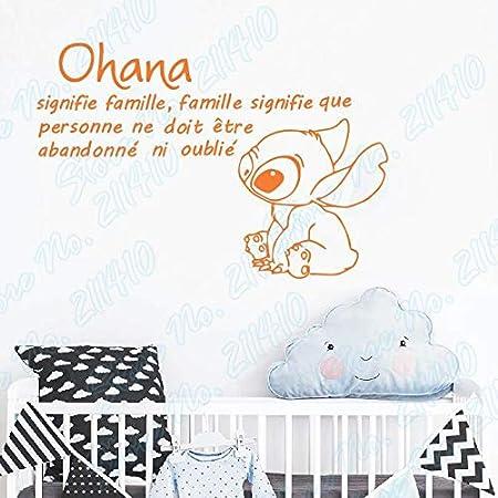 wangpdp Ohana Significa Familia Significa Que Nadie se quede atrás u Olvidado Lilo y Stitch Pegatinas de Pared francesas Calcomanías de Pared para guardería para bebés 83x56cm: Amazon.es: Hogar
