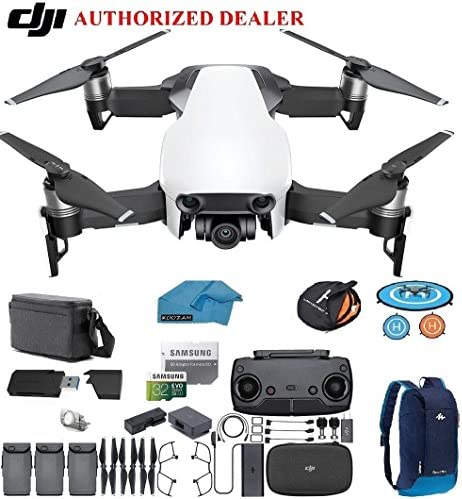 Quadcopter with 64gb SD Card 4 Battery Bundle Arctic White 4K Professional Camera Gimbal Kit with Must Have Accessories DJI Mavic Air Fly More Combo Drone