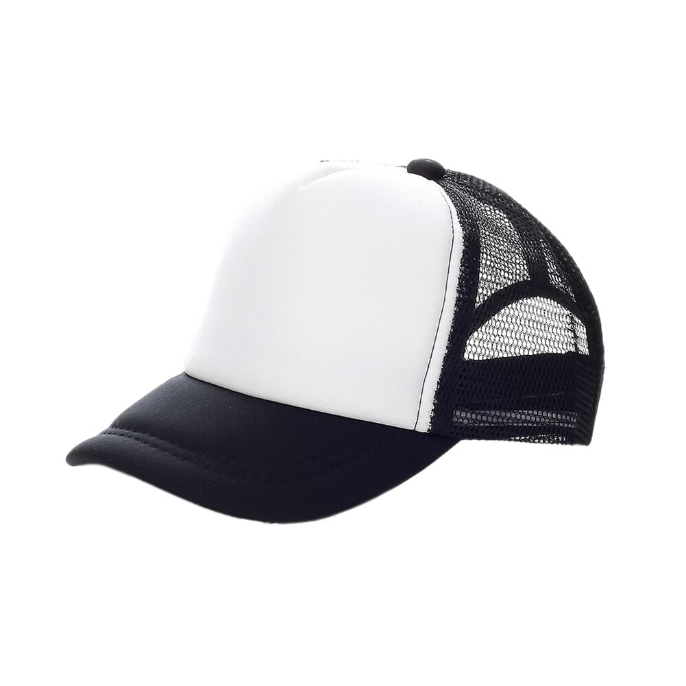 Opromo Kids Two Tone Mesh Curved Bill Trucker Cap, Adjustable Snapback, 14 Colors-Black/White-48 Pieces by Opromo
