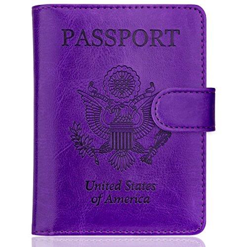 WALNEW Passport Holder Cover Case RFID Passport Travel Wallet, Purple