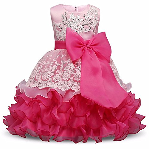 VIKITA Flower Girl Dress Kids Ruffles Lace Pageant Party Wedding Flower girls Dresses (120, Hot Pink)