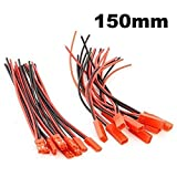 powerday 10pairs 150mm JST Connector 2-pin Plug with 22AWG Silicone Wire Cable 15CM