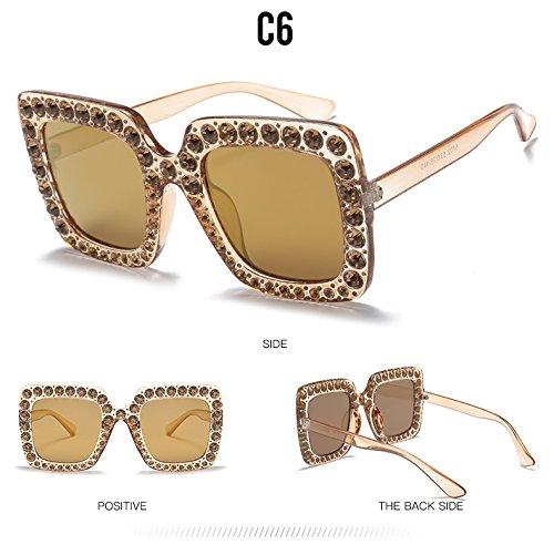 Sobredimensionado Gafas Mujer C6 Plaza Bastidor De Grande TIANLIANG04 De Anteojos Sol Crystal Diamantes Gafas Para C7 qa7wwC5