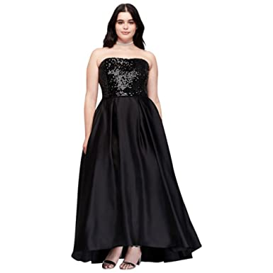 David\'s Bridal Sequined Satin Strapless Plus Size Prom Dress Style ...