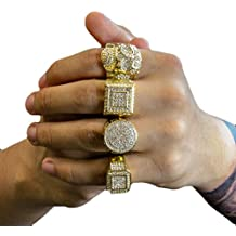 Mens 14K Gold Tone Hip Hop Iced Out Cz 4 Rings Bundle Type A Available Size 7 8 9 10 11 12