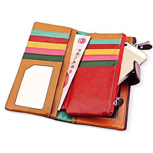 Lange Damen Geldbörse Geldbeutel aus echtem Rindsleder Portemonnaie Echt Leder