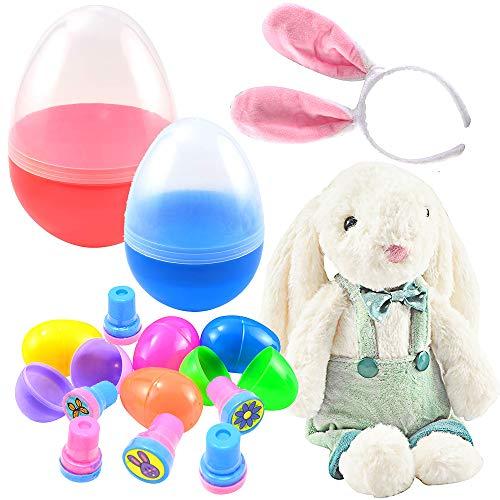 (JOYIN Prefilled Jumbo Nesting Easter Egg Toy Set with 10 Inches Jumbo Egg Prefilled with Plush Easter Bunny and Bunny Ear Headband, 7 Inches Jumbo Easter Egg Prefilled with 6)