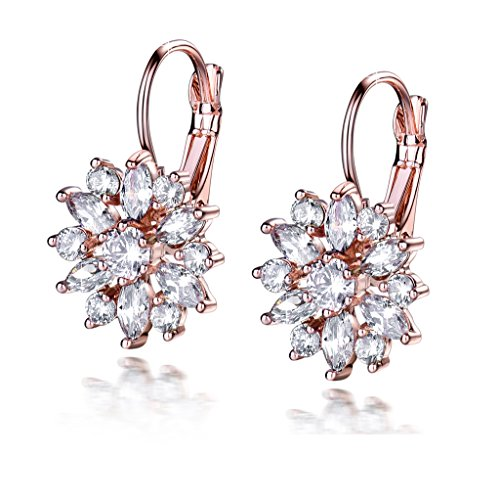 GULICX Women Rose Gold Color Marquise Round Cubic Zirconia Cluster Hoop Earrings