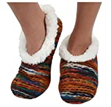 Womens Artisan Yarn Sherpa Snoozies Slipper Socks - Rust, Extra-Large