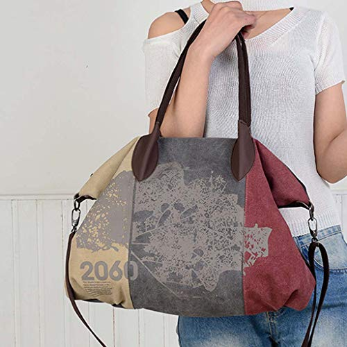 Shoulder bag with print, retro fashion handbag for women, Casual crossbody bag with large capacity for daily travel