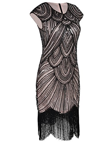 flapper embellecido Black Gatsby flecos Beige Vestido lentejuelas con 1920 PrettyGuide Mujeres diamante Luxury nX6zcPqa