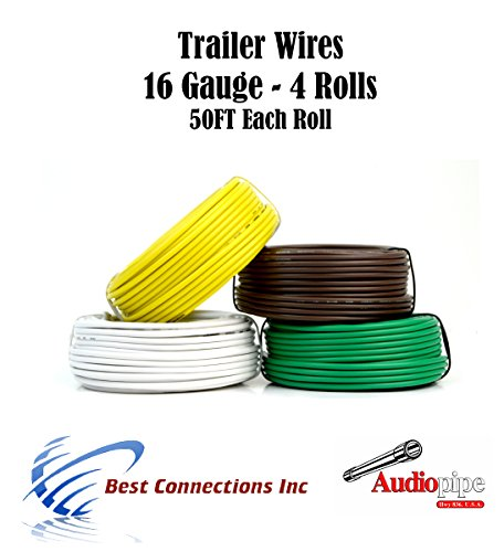 4 Way Trailer Wire Light Cable for Harness 50 FT Each Roll 16 Gauge 4 - Light 16 Gauge Green