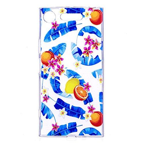 Funda Sony Xperia XZ1 , Carcasa Sony Xperia XZ1, Cristal Suave Gel Silicona TPU Carcasa para Sony Xperia XZ1 (5.2 Pulgadas) E-Lush Ultra Claro delgado Blanda Case Cover [Slim Fit] Transparente Flexibl Naranjas