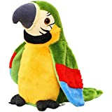 Dartphew Toys, Fashion Interesting Outdoor Funny Interactive Adorable Speak Talking Record Repeats Waving Wings Cute Parrot Stuffed Plush Toy Great Gift For Baby Kids Children (Green)