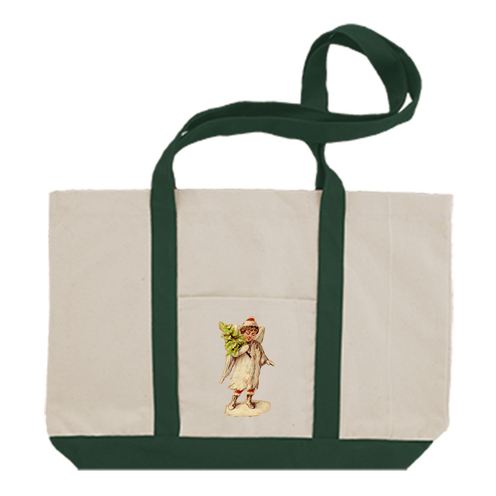 Canvas Boat Tote Bag Angel White Coat Holds Christmas Tree #2 By Style In Print | Green