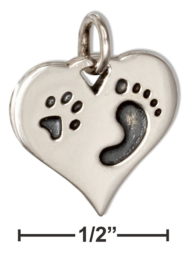 Sterling Silver Paw Print Footprint Heart Charm Pendant