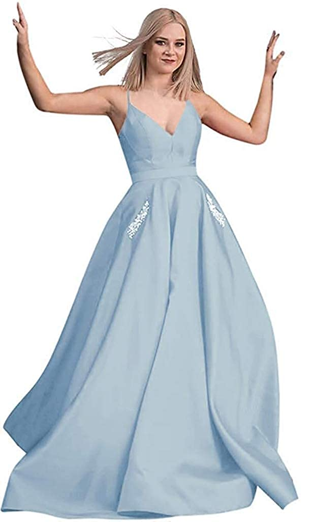 Sky bluee RTTUTED Satin Beaded Prom Dresses Long Ball Gowns for Women Pockets Formal Evening