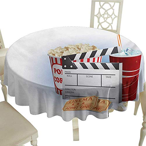 Cranekey Party Round Tablecloth 65 Inch Movie Theater,Soda Tickets Fresh Popcorn and Clapper Board Blockbuster Premiere Cinema,Multicolor Great for,Party & ()
