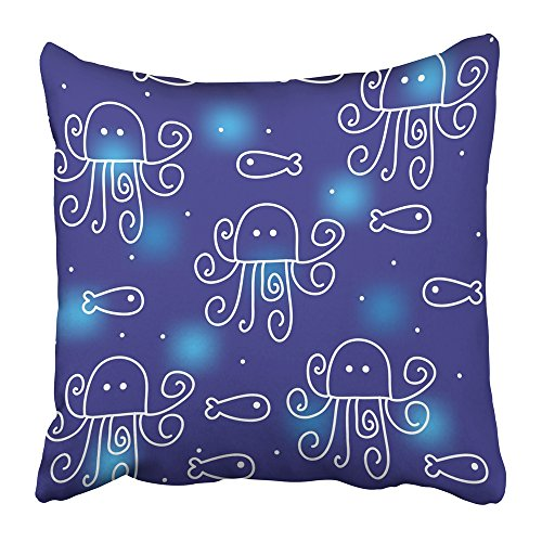 Decorative Hood Curve (Emvency Throw Pillow Covers Print 18 x 18 Inch Blue Whimsical with Funny Octopuses Animal Baby Child Childhood Creative Curve Cute Square Zipper Polyester Home Sofa Decorative Case)
