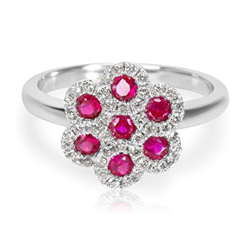 Brand New Diamond Flower Ruby Ring in 18KT White Gold 80 (18kt Diamond Flower)
