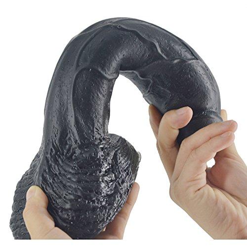 YAMADIE Realidad Consolador Cock Succión Succión Succión Plug Anal Simulación Pene Femenino Punto G Masajeador Manual Adulto Juego Juguetes Parejas Juguetes PVC 26 * 5.5 Cm,Black d937fd