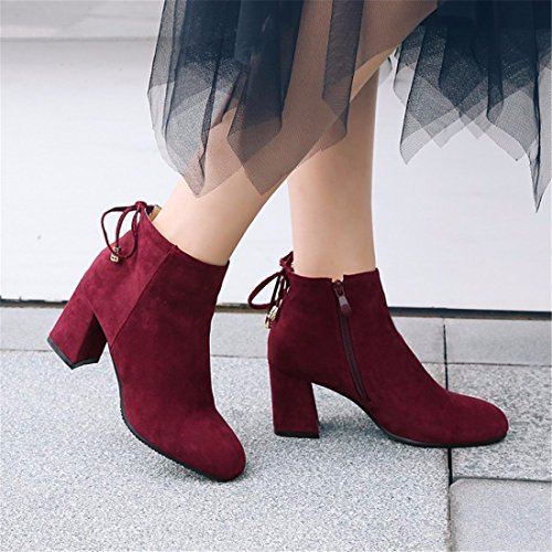 Ms with square Terry Boots thick Europe winter Red Suede boots wine rUgqrE