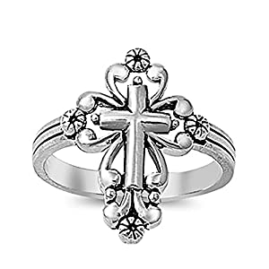 Sterling Silver Ornate Religious Cross Ring