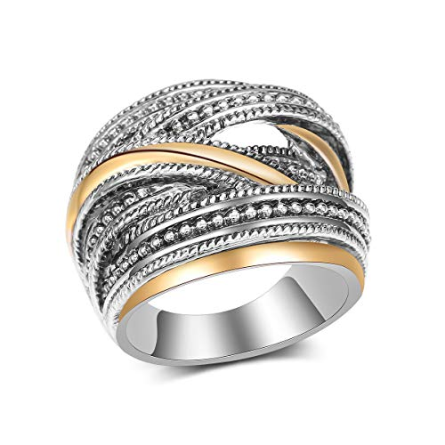 - dnswez Vintage 2 Tone Punk Chunky Silver Oxidized Rings Twine Intertwined Wide Band for Women/Men Size: 9
