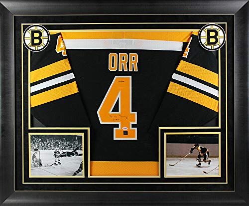 Bobby Orr Signed Jersey - Bruins Bobby Orr 3X Mvp Autographed Signed Black Ccm Framed Jersey Le Of 444 PSA & Gnr
