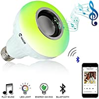 VONTAR E27 Smart RGB RGBW Bluetooth Speaker Bulb Music Playing Dimmable WirelessLED Light Lamp Player with 24 Keys Remote Control