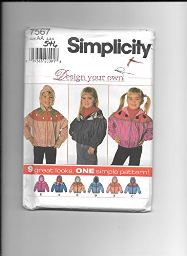 Simplicity 7567 Sewing Pattern for Childs Elastic Hem Gathered Yoke Zip Front Hooded Jackets Girls 2 3 4 5 6