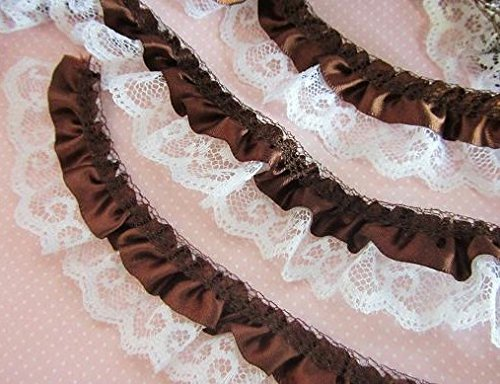 Ruffle Woman Trim (5 yard Satin White French Floral Lace/2 Layer Ruffle Trim/trimming/baby T39-Brown US Seller Ship Fast)