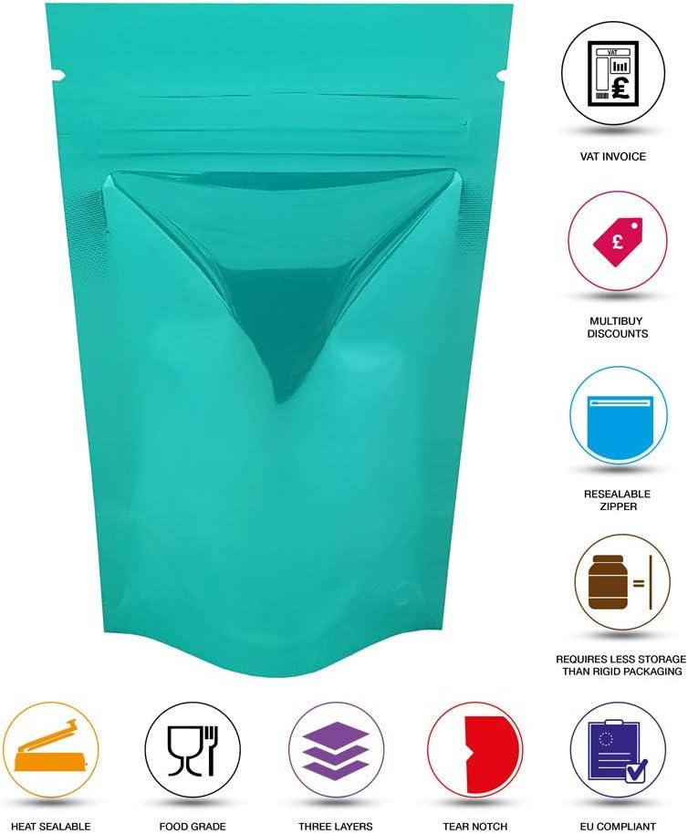 Rightpak Pochettes en aluminium brillant avec fermeture /éclair refermable et encoche pour emballage alimentaire Turquoise 8cm x 13cm