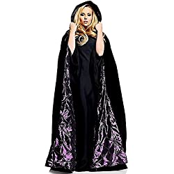 "Underwraps Adult Women's 63"" Deluxe Velvet Satin Cloak Cape, Black/Purple"