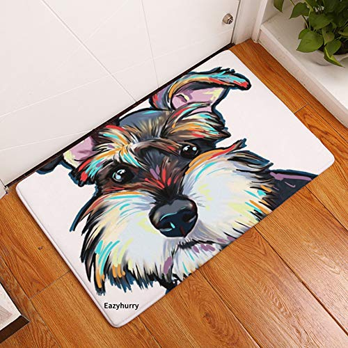 eazyhurry YJ Bear Thin Lovely Gray Dog Pattern Floor Mat Coral Fleece Home Decor Carpet Indoor Rectangle Doormat Kitchen Floor Runner 16