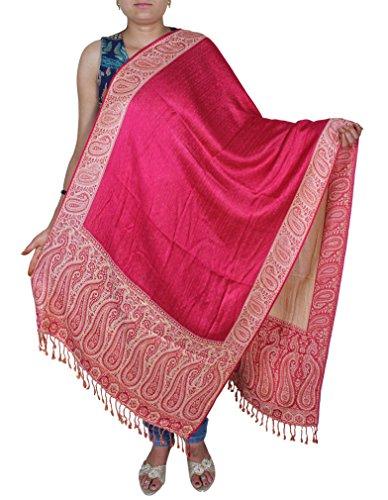 Écharpe en cachemire en viscose rose - imprimé floral indien longtemps volé foulards - 214 x 76 cm