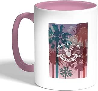 beach party Printed Coffee Mug, Pink Color