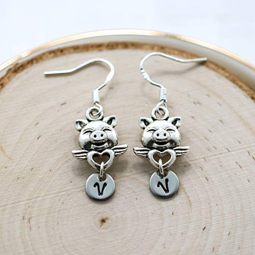 Farm Animal Pig Earrings for Women & Girls - Sterling Silver 925 Hooks - Flying Pigs Jewelry - Personalized Initial - Fast ()