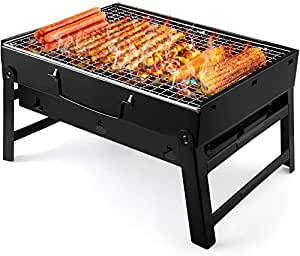 UTTORA Charcoal Grill Barbecue Portable BBQ - Stainless Steel Folding Grill Tabletop Outdoor Smoker BBQ for Picnic Garden Terrace Camping Travel 15.35''x11.41''x2.95''